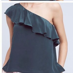 Anthropologie one shoulder gorgeous ruffle top.